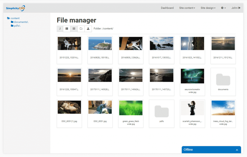 File Manager Thumbnail View